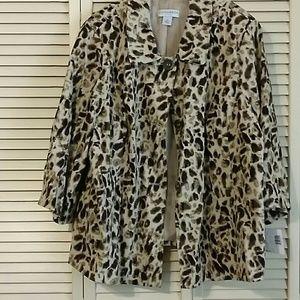 Sag Harbor Woman Animal Print Linen Jacket